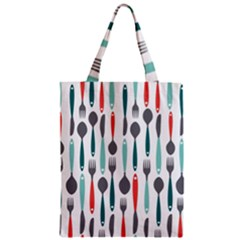 Spoon Fork Knife Pattern Zipper Classic Tote Bag by Sapixe