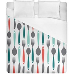 Spoon Fork Knife Pattern Duvet Cover (california King Size) by Sapixe