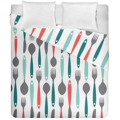 Spoon Fork Knife Pattern Duvet Cover Double Side (california King Size) by Sapixe