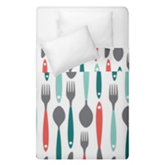Spoon Fork Knife Pattern Duvet Cover Double Side (single Size) by Sapixe