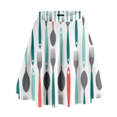 Spoon Fork Knife Pattern High Waist Skirt by Sapixe