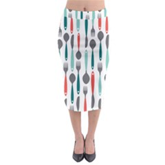 Spoon Fork Knife Pattern Midi Pencil Skirt by Sapixe