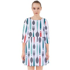 Spoon Fork Knife Pattern Smock Dress by Sapixe