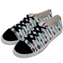 Spoon Fork Knife Pattern Men s Low Top Canvas Sneakers by Sapixe
