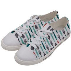 Spoon Fork Knife Pattern Women s Low Top Canvas Sneakers by Sapixe