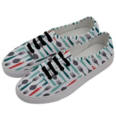 Spoon Fork Knife Pattern Men s Classic Low Top Sneakers by Sapixe