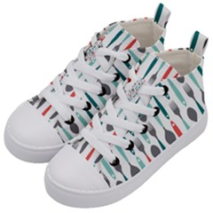 Spoon Fork Knife Pattern Kid s Mid Top Canvas Sneakers by Sapixe
