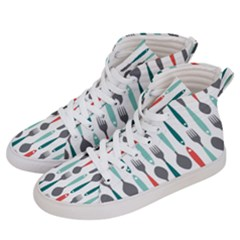 Spoon Fork Knife Pattern Women s Hi Top Skate Sneakers by Sapixe
