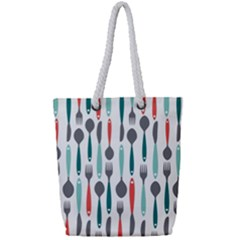 Spoon Fork Knife Pattern Full Print Rope Handle Tote (small) by Sapixe