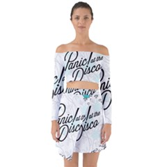 Panic At The Disco Quote Off Shoulder Top With Skirt Set