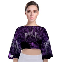 Panic At The Disco Tie Back Butterfly Sleeve Chiffon Top