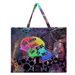 Panic! At The Disco Galaxy Nebula Zipper Large Tote Bag by Samandel