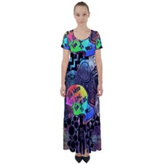 Panic! At The Disco Galaxy Nebula High Waist Short Sleeve Maxi Dress