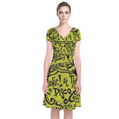 Panic! At The Disco Lyric Quotes Short Sleeve Front Wrap Dress