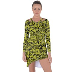Panic! At The Disco Lyric Quotes Asymmetric Cut Out Shift Dress by Samandel