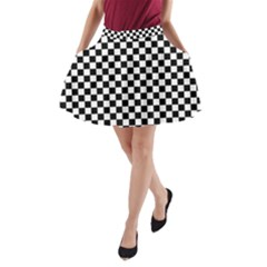 Checker Black And White A Line Pocket Skirt by jumpercat