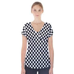 Checker Black And White Short Sleeve Front Detail Top