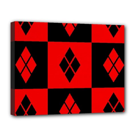 Red And Black Pattern Canvas 14  X 11