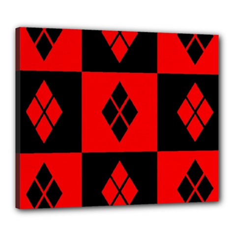 Red And Black Pattern Canvas 24  X 20