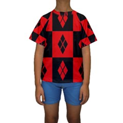 Red And Black Pattern Kids  Short Sleeve Swimwear