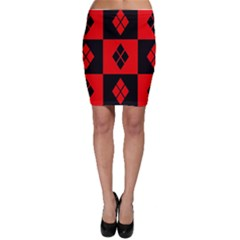 Red And Black Pattern Bodycon Skirt