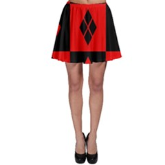 Red And Black Pattern Skater Skirt