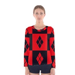 Red And Black Pattern Women s Long Sleeve Tee