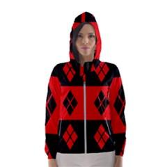 Red And Black Pattern Hooded Wind Breaker (women)
