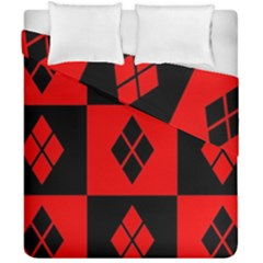 Red And Black Pattern Duvet Cover Double Side (california King Size)