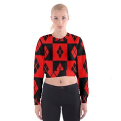 Red And Black Pattern Cropped Sweatshirt