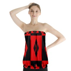 Red And Black Pattern Strapless Top