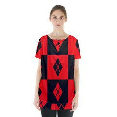 Red And Black Pattern Skirt Hem Sports Top