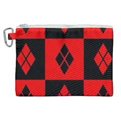 Red And Black Pattern Canvas Cosmetic Bag (xl) by Samandel