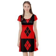 Harley Quinn Pattern Short Sleeve Skater Dress