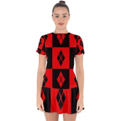 Harley Quinn Pattern Drop Hem Mini Chiffon Dress