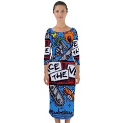 Album Cover Pierce The Veil Misadventures Quarter Sleeve Midi Bodycon Dress