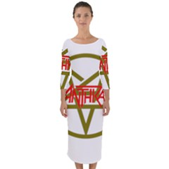 Anthrax Band Logo Quarter Sleeve Midi Bodycon Dress