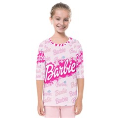 Barbie Pattern Kids  Quarter Sleeve Raglan Tee