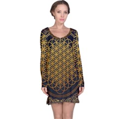 Tree Of Live Pattern Long Sleeve Nightdress