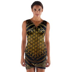 Tree Of Live Pattern Wrap Front Bodycon Dress by Samandel