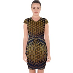 Tree Of Live Pattern Capsleeve Drawstring Dress