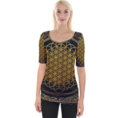Tree Of Live Pattern Wide Neckline Tee by Samandel