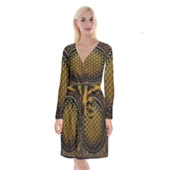 Tree Of Live Pattern Long Sleeve Velvet Front Wrap Dress by Samandel