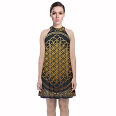 Tree Of Live Pattern Velvet Halter Neckline Dress  by Samandel