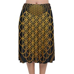 Tree Of Live Pattern Velvet Flared Midi Skirt by Samandel