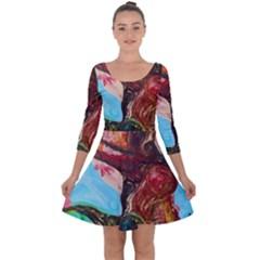 Big Coral Tree Quarter Sleeve Skater Dress
