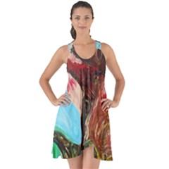 Big Coral Tree Show Some Back Chiffon Dress