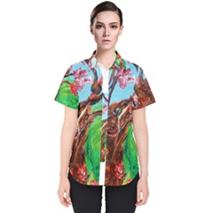 Coral Tree Blooming Women s Short Sleeve Shirt