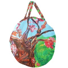 Coral Tree Blooming Giant Round Zipper Tote