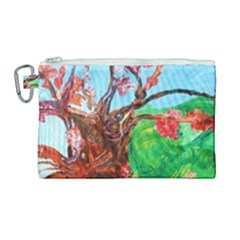 Coral Tree Blooming Canvas Cosmetic Bag (large)